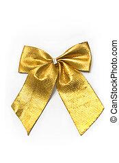 Golden gift bow ribbon