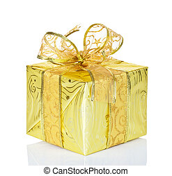 Golden gift box on a white background