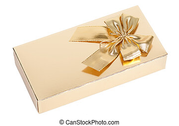 golden gift box with a bow on a white background