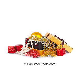 Golden gift box with Christmas balls and garlands of beautiful beads isolated on white background