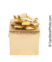 Golden gift box with golden ribbon isolated white background