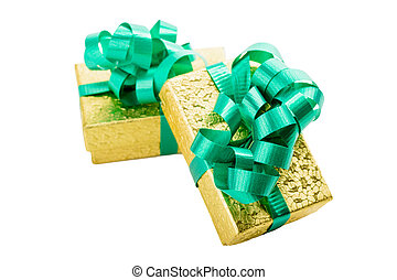 Golden gift box with green bow