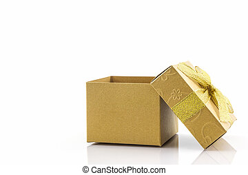 Golden gift box with ribbon bow.