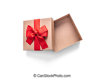 Golden gift box with ribbon isolated on a white.