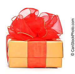 Golden gift boxes with a red bow