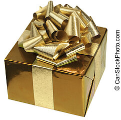 Golden Gift - Gold paper and ribbon gift