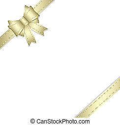 Golden gift ribbon and bow isolated on white background