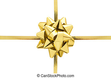 Golden Gift Ribbon - Gift ribbon and bow isolated on a white...