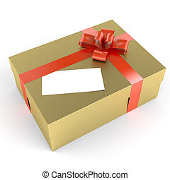Golden gift with red ribbon and a white label as copy space for your own text, clipping path includded for exact isolation