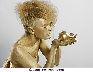 golden girl with apple