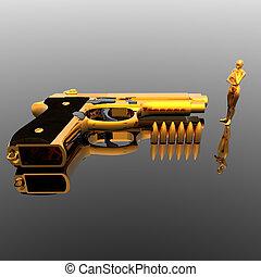 golden girl with gun
