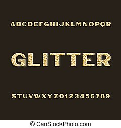 Golden glitter alphabet font. Type letters and numbers.