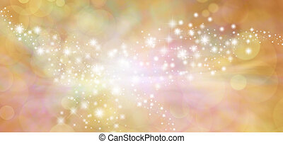 Golden Glitter Bokeh Background - Wide autumnal orange and...
