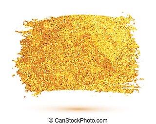 Golden glitter brush stroke isolated on white background