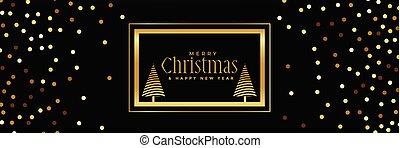golden glitter christmas banner on black background