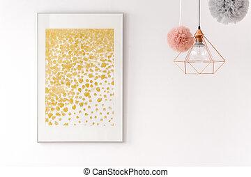 Poster Babykamer Pastel : Golden decor nursery with poster golden decor baby nursery with