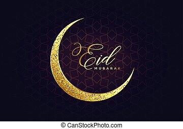 golden glitter eid moon design background
