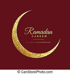 golden glitter eid moon ramadan kareem background