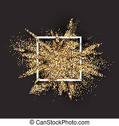 Golden glitter explosion on grey.