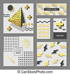 Golden Glitter Geometric Design Set for Invitations, Banners, Greeting Cards. Gold Abstract Patterns with Geometric Elements. Flyer Template, Business Brochure. Vector illustration