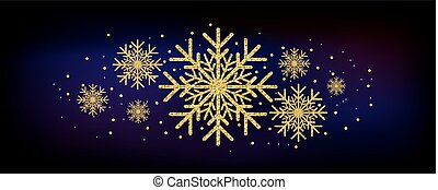 Golden glitter gorgeous snowflake. Luxurious christmas design element with golden glitter snowflake, golden dust and sparkles.