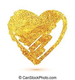 Golden glitter grunge heart isolated on white background
