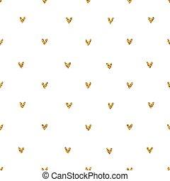 Golden glitter hearts seamless pattern