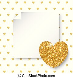 Golden glitter hearts. Valentine's and Wedding Day