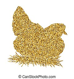 Golden glitter hen on white background. Hand-drawn doodle silhouette