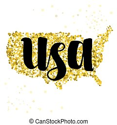 Golden glitter illustration of the United States of America with modern lettering