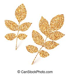 Golden glitter leaves isolated on white background