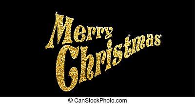 Golden glitter Merry Christmas on black