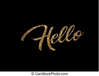 Golden glitter of isolated hand writing word HELLO