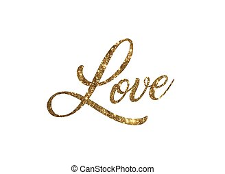 Golden glitter of isolated hand writing word LOVE