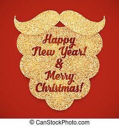 Golden glitter Santas beard greeting card template