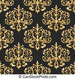 Golden glitter seamless pattern. Vector background with damask ortaments.