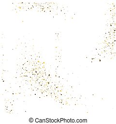 Golden glitter shine texture on a white background. Golden explosion of Confetti. Golden abstract particles on a light background. Isolated Holiday Design elements. Vector illustration.