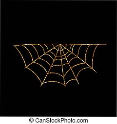 Golden glitter silhouette Halloween holiday spyder web flat...