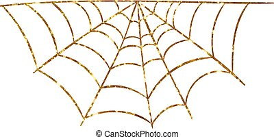 Golden glitter silhouette Halloween holiday spyder web flat...