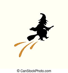 Golden glitter silhouette witch flat icon. Halloween holiday...
