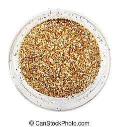 golden glitter sparkle on white background.