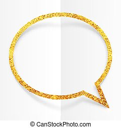 Golden glitter speech bubble frame isolated on white background