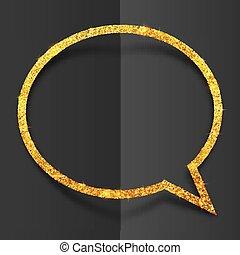 Golden glitter speech bubble frame isolated on black background