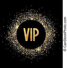 Golden glitter texture with text VIP