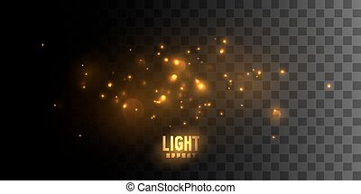Golden glittering sparkles isolated on dark checkered transparent background. Vector illustration of shiny particles. Luminous fire stars. Light effect element for design
