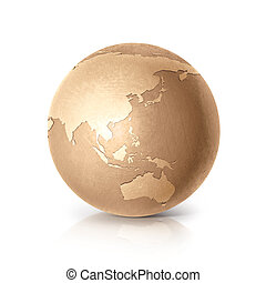 Golden globe 3D illustration Asia & Australia map