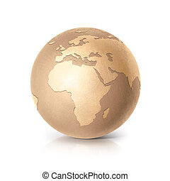 Golden globe 3D illustration europe and africa map