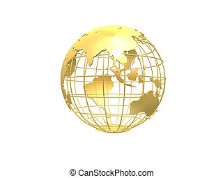 golden globe - 3d rendered illustration of a golden metal ...