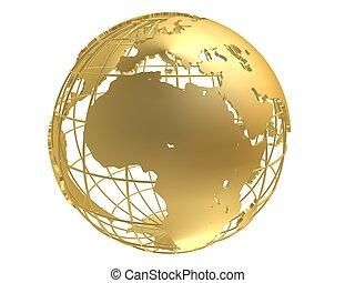 3d rendered illustration of a golden metal globe