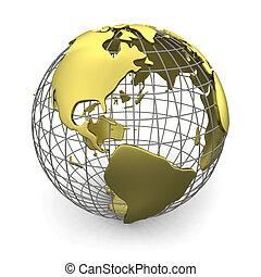 Golden globe, America - Golden wired 3D globe of America ...